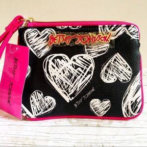 Betsey Johnson Wristlet Pouch Black White & Pink